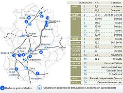 Los radares fijos en las carreteras extremeñas