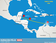 Trayectoria del huracán 'Félix'